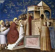 Giotto : Scènes de la vie de la Vierge: présentation de la Vierge au temple. 1304-1306. Fresque, 200 x 185 cm. Padoue: la chapelle Scrovegni ou chapelle de l'Arena