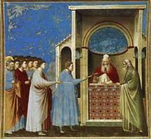 Giotto : Scènes de la vie de la Vierge: offrande des baguettes au temple. 1304-1306. Fresque, 200 x 185 cm. Padoue: la chapelle Scrovegni ou chapelle de l'Arena