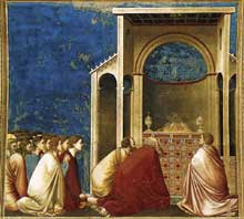 Giotto : Scènes de la vie de la Vierge: prière au temple. 1304-1306. Fresque, 200 x 185 cm. Padoue: la chapelle Scrovegni ou chapelle de l'Arena
