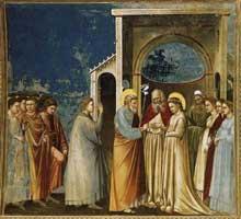 Giotto : Scènes de la vie de la Vierge: le mariage de la Vierge. 1304-1306. Fresque, 200 x 185 cm. Padoue: la chapelle Scrovegni ou chapelle de l'Arena