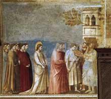 Giotto : Scènes de la vie de la Vierge: la procession de mariage. 1304-1306. Fresque, 200 x 185 cm. Padoue: la chapelle Scrovegni ou chapelle de l'Arena