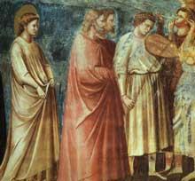 Giotto : Scènes de la vie de la Vierge: la procession de mariage, détail. 1304-1306. Fresque. Padoue: la chapelle Scrovegni ou chapelle de l'Arena