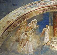 Giotto : Scènes de la vie de la Vierge: Dieu envoie l'ange à la Vierge, détail. 1304-1306. Fresque. Padoue: la chapelle Scrovegni ou chapelle de l'Arena