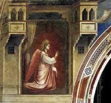 Giotto : Scènes de la vie de la Vierge: l'Annonciation: l'ange Gabriel. 1306. Fresque, 150 x 195 cm. Padoue: la chapelle Scrovegni ou chapelle de l'Arena