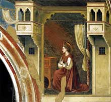 Giotto : Scènes de la vie de la Vierge: l'Annonciation: la Vierge accueille le message. 1306. Fresque, 150 x 195 cm. Padoue: la chapelle Scrovegni ou chapelle de l'Arena
