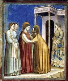 Giotto : Scènes de la vie de la Vierge: la Visitation. 1306. Fresque, 150 x 140 cm. Padoue: la chapelle Scrovegni ou chapelle de l'Arena