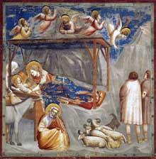 Giotto : Scènes de la vie du Christ: la Nativité, détail. 1304-1306. Fresque, largeur: 100 cm. Padoue: la chapelle Scrovegni ou chapelle de l'Arena