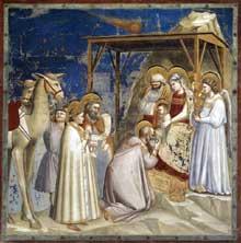 Giotto : Scènes de la vie du Christ: l'adoration des Mages. 1304-1306. Fresque, 200 x 185 cm. Padoue: la chapelle Scrovegni ou chapelle de l'Arena