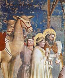 Giotto : Scènes de la vie du Christ: l'adoration des Mages, détail. 1304-1306. Fresque, 89 cm de large. Padoue: la chapelle Scrovegni ou chapelle de l'Arena