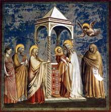 Giotto : Scènes de la vie du Christ: la présentation au temple. 1304-1306. Fresque, 200 x 185 cm. Padoue: la chapelle Scrovegni ou chapelle de l'Arena