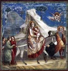 Giotto : Scènes de la vie du Christ: la fuite en Egypte. 1304-1306. Fresque, 200 x 185 cm. Padoue: la chapelle Scrovegni ou chapelle de l'Arena