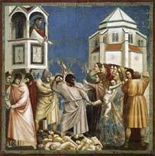 Giotto : Scènes de la vie du Christ: le massacre des innocents. 1304-1306. Fresque, 200 x 185 cm. Padoue: la chapelle Scrovegni ou chapelle de l'Arena