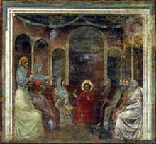 Giotto : Scènes de la vie du Christ: le Christ parmi les Docteurs de la loi. 1304-1306. Fresque, 200 x 185 cm. Padoue: la chapelle Scrovegni ou chapelle de l'Arena