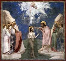 Giotto : Scènes de la vie du Christ: le baptême du Christ. 1304-1306. Fresque, 200 x 185 cm. Padoue: la chapelle Scrovegni ou chapelle de l'Arena
