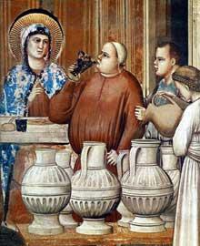 Giotto : Scènes de la vie du Christ: les Noces de Cana. Ce détail montre les serviteurs attendant de verser le vin pendant que l'un d'eux goute la boisson…1304-1306. Fresque, 73 cm de large. Padoue: la chapelle Scrovegni ou chapelle de l'Arena
