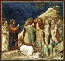Giotto : Scènes de la vie du Christ: la résurrection de Lazare. 1304-1306. Fresque, 200 x 185 cm. Padoue: la chapelle Scrovegni ou chapelle de l'Arena