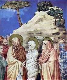 Giotto : Scènes de la vie du Christ: la résurrection de Lazare, détail. 1304-1306. Fresque, 200 x 185 cm. Padoue: la chapelle Scrovegni ou chapelle de l'Arena