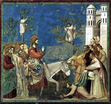 Giotto : Scènes de la vie du Christ: l'entrée à Jérusalem. 1304-1306. Fresque, 200 x 185 cm. Padoue: la chapelle Scrovegni ou chapelle de l'Arena