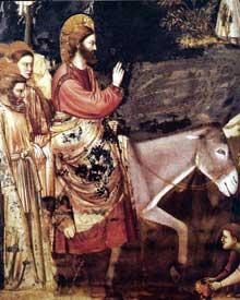 Giotto : Scènes de la vie du Christ: l'entrée à Jérusalem, détail. 1304-1306. Fresque, 200 x 185 cm. Padoue: la chapelle Scrovegni ou chapelle de l'Arena