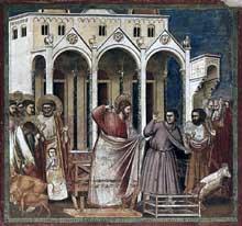 Giotto : Scènes de la vie du Christ: les changeurs de monnaie chassés du temple. 1304-1306. Fresque, 200 x 185 cm. Padoue: la chapelle Scrovegni ou chapelle de l'Arena