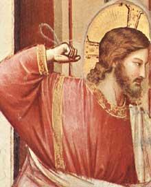 Giotto : Scènes de la vie du Christ: les changeurs de monnaie chassés du temple, détail. 1304-1306. Fresque, 31,5 cm de large. Padoue: la chapelle Scrovegni ou chapelle de l'Arena