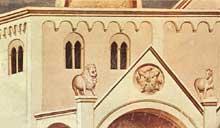 Giotto : Scènes de la vie du Christ: les changeurs de monnaie chassés du temple, détail. 1304-1306. Fresque, 67 cm de large. Padoue: la chapelle Scrovegni ou chapelle de l'Arena