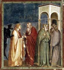 Giotto : Scènes de la vie du Christ: la trahison de Judas. 1304-1306. Fresque, 200 x 185 cm. Padoue: la chapelle Scrovegni ou chapelle de l'Arena