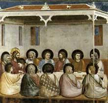 Giotto : Scènes de la vie du Christ: la dernière Cène. 1304-1306. Fresque, 200 x 185 cm. Padoue: la chapelle Scrovegni ou chapelle de l'Arena