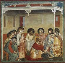 Giotto : Scènes de la vie du Christ: le lavement des pieds. 1304-1306. Fresque, 200 x 185 cm. Padoue: la chapelle Scrovegni ou chapelle de l'Arena