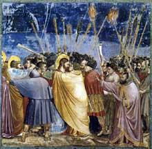 Giotto : Scènes de la vie du Christ: le baiser de Judas et l'arrestation du Christ. 1304-1306. Fresque, 200 x 185 cm. Padoue: la chapelle Scrovegni ou chapelle de l'Arena