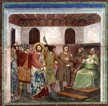 Giotto : Scènes de la vie du Christ: le Christ devant Caïphe. 1304-1306. Fresque, 200 x 185 cm. Padoue: la chapelle Scrovegni ou chapelle de l'Arena