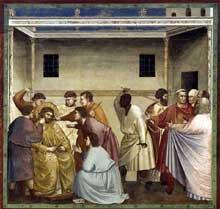 Giotto : Scènes de la vie du Christ: la flagellation. 1304-1306. Fresque, 200 x 185 cm. Padoue: la chapelle Scrovegni ou chapelle de l'Arena
