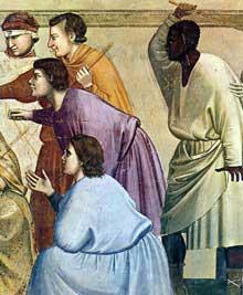 Giotto : Scènes de la vie du Christ: les la flagellation, détail. 1304-1306. Fresque, 76 cm de large. Padoue: la chapelle Scrovegni ou chapelle de l'Arena