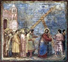 Giotto : Scènes de la vie du Christ: la montée au calvaire. 1304-1306. Fresque, 200 x 185 cm. Padoue: la chapelle Scrovegni ou chapelle de l'Arena