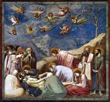 Giotto : Scènes de la vie du Christ: la lamentation sur le Christ mort. 1304-1306. Fresque, 200 x 185 cm. Padoue: la chapelle Scrovegni ou chapelle de l'Arena