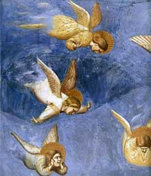 Giotto : Scènes de la vie du Christ: la lamentation du Christ mort, détail. 1304-1306. Fresque, 200 x 185 cm. Padoue: la chapelle Scrovegni ou chapelle de l'Arena