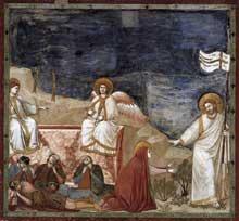 Giotto : Scènes de la vie du Christ: la Résurrection («Noli me tangere»). 1304-1306. Fresque, 200 x 185 cm. Padoue: la chapelle Scrovegni ou chapelle de l'Arena