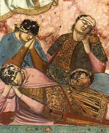 Giotto : Scènes de la vie du Christ: la Resurrection, détail. 1304-1306. Fresque, 48,5 cm de large. Padoue: la chapelle Scrovegni ou chapelle de l'Arena