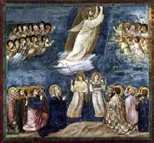 Giotto : Scènes de la vie du Christ: l'Ascension. 1304-1306. Fresque, 200 x 185 cm. Padoue: la chapelle Scrovegni ou chapelle de l'Arena