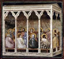 Giotto : Scènes de la vie du Christ: la Pentecôte. 1304-1306. Fresque, 200 x 185 cm. Padoue: la chapelle Scrovegni ou chapelle de l'Arena