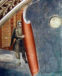 Giotto : Le Jugement dernier, détail. 1306. Fresque. Padoue: la chapelle Scrovegni ou chapelle de l'Arena. Conformément à la vision de l'évangéliste Jean, qui prophétise la fin du monde et la seconde venue du Christ, les gardiens du paradis font reculer le firmament. Derrière eux apparaît la Nouvelle Jésusalem