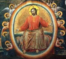 Giotto : Le Jugement dernier, détail. 1306. Fresque. Padoue: la chapelle Scrovegni ou chapelle de l'Arena. Le détail montre le Christ juge au sein d'une mandorle et entouré d'anges