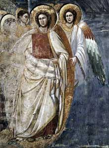 Giotto : Le Jugement dernier, détail. 1306. Fresque. Padoue: la chapelle Scrovegni ou chapelle de l'Arena. Ce détail représente lesanges situés sous les Apôtres sur le côté gauche de la fresque et menant une partie des élus