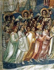 Giotto : Le Jugement dernier, détail. 1306. Fresque. Padoue: la chapelle Scrovegni ou chapelle de l'Arena. Les bienheureux, hommes et femmes, laïcs ou clercs, sont accompagnés dans leur ascension par des anges, tendus vers un unique but: le Christ juge