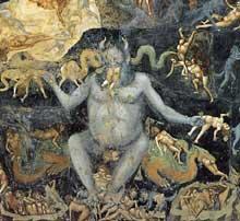 Giotto : Le Jugement dernier, détail. 1306. Fresque. Padoue: la chapelle Scrovegni ou chapelle de l'Arena