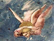 Giotto : Scènes de la vie du Christ: La lamentation du Christ mort, détail. 1304-1306. Fresque, 28 cm de large. Padoue: la chapelle Scrovegni ou chapelle de l'Arena