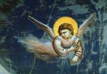 Giotto : Scènes de la vie du Christ: la fuite en Egypte, détail. 1304-1306. Fresque. Padoue: la chapelle Scrovegni ou chapelle de l'Arena