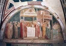 Giotto : Scènes de la vie de saint Jean Baptiste: l'annonce à Zacharie. 1320. Fresque, 280 x 450 cm. Florence, Santa Croce, Chapelle Peruzzi