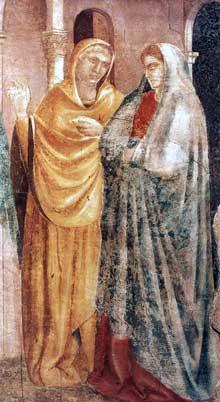 Giotto : Scènes de la vie de saint Jean Baptiste: l'annonce à Zacharie, détail. 1320. Fresque. Florence, Santa Croce, Chapelle Peruzzi