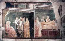 Giotto : Scènes de la vie de saint Jean Baptiste: la naissance de Jean. 1320. Fresque, 280 x 450 cm. Florence, Santa Croce, Chapelle Peruzzi